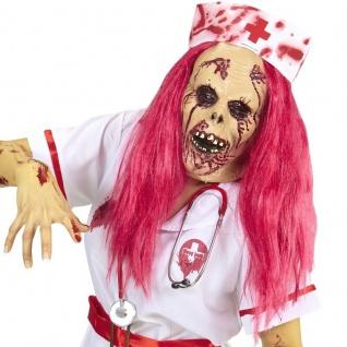 Zombie Krankenschwester Pink Purge Maske mit Perücke Halloween Karneval #4954