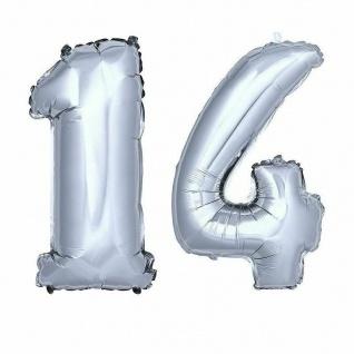 XXL Folienballon Zahlenballon Hochzeit Jubiläum Geburtstag SILBER 80cm Zahl 14