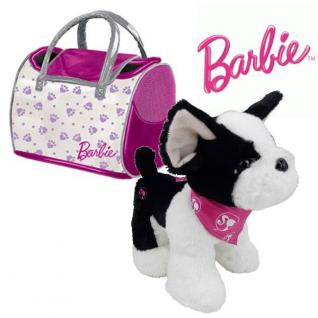 Plüsch Hund BULLDOGGE MIT TASCHE Barbie Plüschtier 21 cm Stofftier Kuscheltier