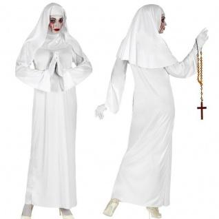 Nonne weiß Kleid mit Haube Damen Kostüm - Halloween Weiße Horror Geister Nonne