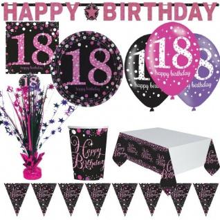18. Geburtstag Jubiläum Feier Pink Schwarz Party Deko Set Zahl 18 - PREISHIT -