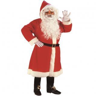4 tlg LUXUS Weihnachtsmann Nikolaus Kostüm - Mantel Gürtel Perücke Schuhüberzieh