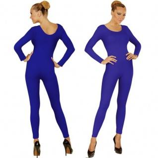 Einteiler Damen Body Overall Jumpsuit lang Sport blau, Langarm Gr. M/L, XL