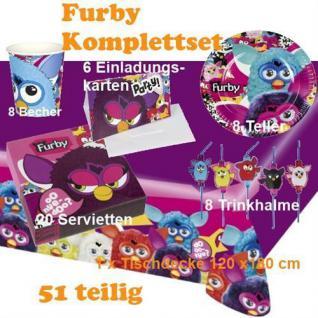 51 tlg. Set Furby Kinder Geburtstag Party Deko, Tischdecke, Teller, Becher