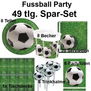 49 tlg. Spar-Set FUSSBALL Platz Kinder Geburtstag Party Set - Teller Becher