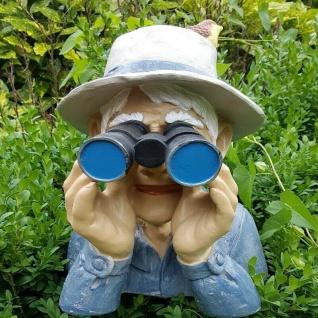 Deko Figur Spanner Opa mit Fernglas Gartenfigur Skulptur Balkon Garten #4041