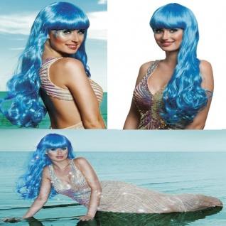 Langhaar Perücke Meerjungfrau eisblau Kostüm Nixe Show Phantasie Glamour #755