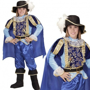 BLAUER PRINZ Kinder Jungen Kostüm Mittelalter Gewand König Märchen Karneval 9683