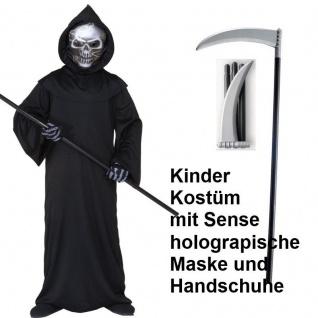 Kinder Kostüm SENSENMANN Tod mit SENSE Gr. 128 Reaper Halloween #5506