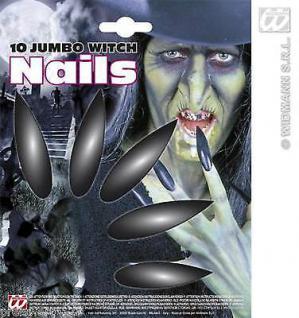 10er Maxi Hexen Nägel JUMBO lang Fingernägel schwarz Halloween Kostüm Karneval