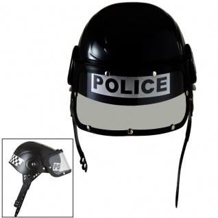 Kinder Polizei Helm mit verstellbarem Visier - Kostüm Zubehör Karneval #