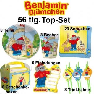 56 tlg. Top Set BENJAMIN BLÜMCHEN Kinder Geburtstag Party - Teller Becher Einlad