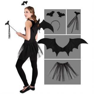 Fledermaus 4-tlg. Kostüm Set Flügel, Tutu, Tiara, Stab Bat Halloween 4529