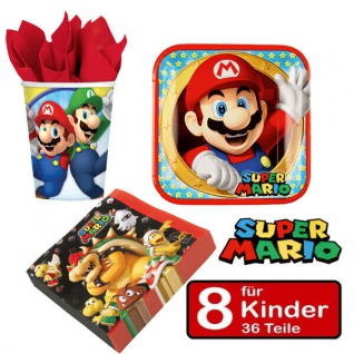 SUPER MARIO Party Set Kinder Geburtstag -Teller Becher Servietten - für 8 Kinder