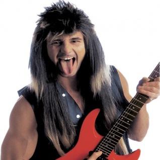HEAVY METAL PERÜCKE Rockstar Hardrock Rocker Musiker Herren Kostüm Zubehör 6187