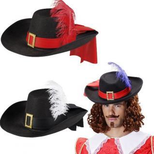 Musketierhut schwarz Musketier Hut Edelmann Pirat Gestiefelter Kater Kostüm
