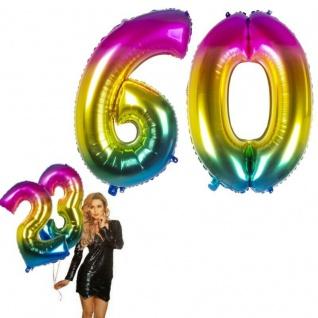 60.Geburtstag XXL FOLIENBALLON Zahl 86cm Regenbogen bunt Helium Luftballon