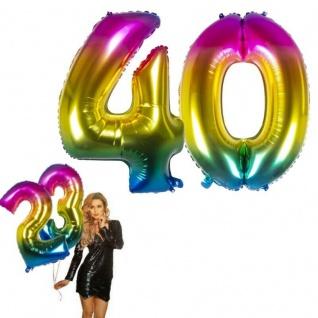 40.Geburtstag XXL FOLIENBALLON Zahl 86cm Regenbogen bunt Helium Luftballon