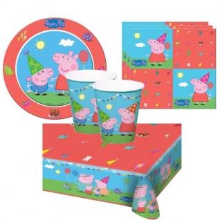 PEPPA WUTZ PIG Party Set - Teller Becher Servietten Tischdecke Kinder Geburtstag