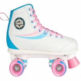 Rollschuhe Roller Skates Rolleskates Nijdam Retro Swirl weiß/rosa/blau NEU