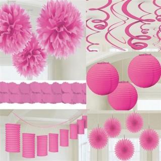 Party Deko PINK rosa Papier Laterne Fächer Girlande Pompom Hochzeit Geburtstag