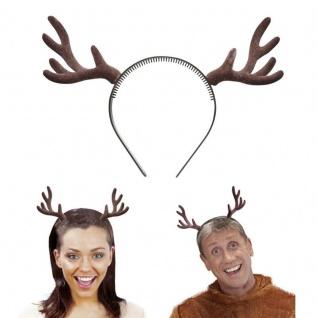 RENTIER GEWEIH auf Haarreif Fasching Kostüm Rentiergeweih Weihnachten Zubehör