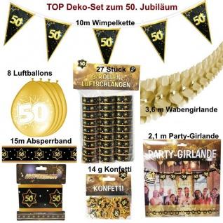 Großes Deko Set 50. Geburtstag - Goldene Hochzeit Jubiläum 50 Jahre Deko - Set 7