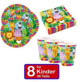 36 teilig Safari Dschungel Teller Servietten Becher Geburtstag Set für 8 Kinder