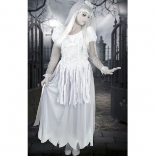 Weißer Geist GEISTERBRAUT Vampir Zombie Kostüm Damen Halloween 36/38, 40/42