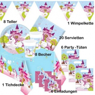50 tlg. GEBURTSTAG Party Kleines Einhorn Teller Becher Servietten