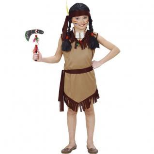 Kinder Kostüm INDIANERIN Indianer Kleid; Gürtel + Haarband 128, 140, 158