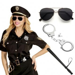 Polizistin Damen Kostüm - Polizei Uniform Bluse mit Hut - Karneval Fasching 6765