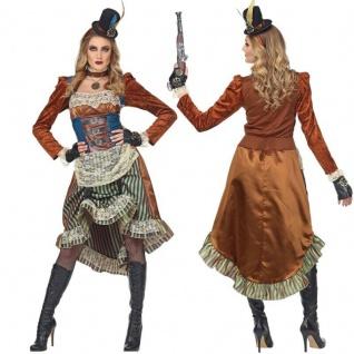 Exklusives STEAMPUNK Damen Kostüm KLEID & HUT Fantasy Wave Viktorianisch Gothic