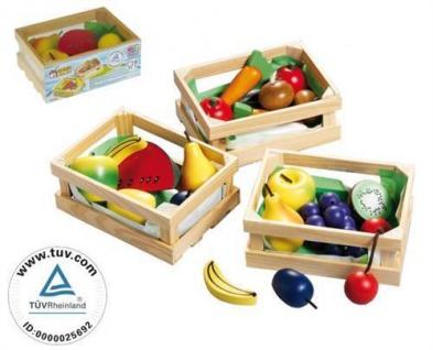 Kaufladen, Obstkiste gemischt, Holz Obst, Lebensmittel Kinder Spielzeug (005)