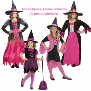 Märchen HEXE Hexen KLEID MIT HUT Kleinkinder Kinder Kostüm Mädchen rosa / pink