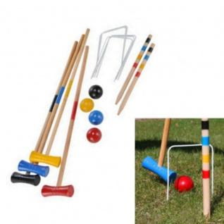 Krocket Spiel für 4-Spieler Kinder Croquet Gartenspiel Holz Spiel Outdoor