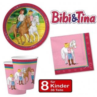 Party Set BIBI UND TINA - Teller Becher Servietten - 8 Kinder Geburtstag Pferde