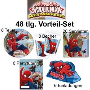 48tlg. Vorteil-Set SPIDERMAN Ultimate Kinder Geburtstag Party Deko Teller Becher