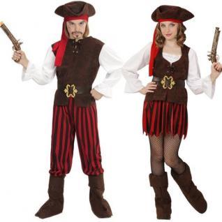 Pirat Piratin Komplettes Kinder Kostüm Jungen & Mädchen Partnerkostüm Freibeuter
