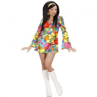 FLOWER POWER GIRL 34/36 S Damen Kostüm Hippie Girl 60er 70er Jahre 7396