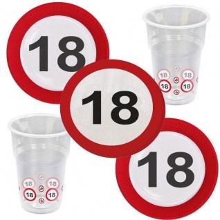 18. Geburtstag Verkehrsschild Party-Set 20x Becher 20x Servietten 16x Teller