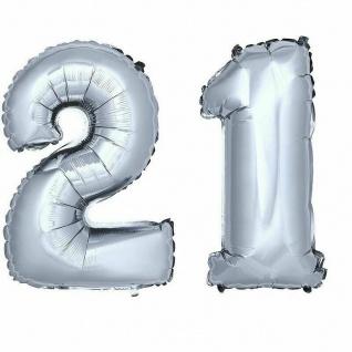 XXL Folienballon Zahlenballon Hochzeit Jubiläum Geburtstag SILBER 80cm Zahl 21