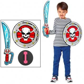 Kinder Pirat Piraten Set - Säbel Schwert + Schild - Spielzeug Schaumstoff