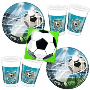 FUSSBALL Taktik 52 tlg. Party Set- Becher Servietten Teller - Kinder Geburtstag