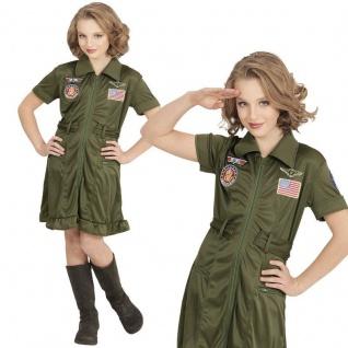 TOP GUN JET PILOTIN Mädchen Kostüm Army Kleid Kinder Karneval 128 140 158