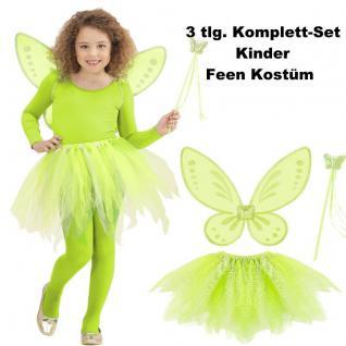 Kinder Feen Kostüm Set 3tlg. Tüllrock Flügel Zauberstab Grün - Schmetterlingsfee