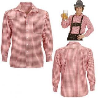 Trachtenhemd Herren - Karo Rot - Gr. XXL (56) - Oktoberfest Bayern