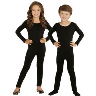 Einteiler Kinder Body Overall Jumpsuit lang Sport schwarz Langarm Kostüm 116-152