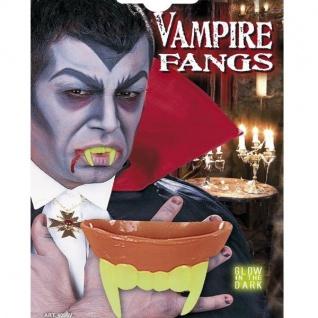 NEON VAMPIR ZÄHNE NACHTLEUCHTEND Halloween Dracula Twilight Gebiss 4096