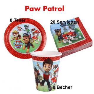 36 tlg. Paw Patrol Geburtstag Party Set Teller Becher Servietten für 8 Kinder